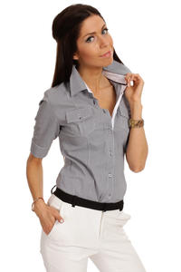 Slim Fit Seam Collared Dark Grey Shirt with Flap Chest Pocket