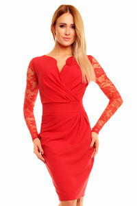 Red Elegant Lace Sleeves Slim Waist Evening Dress