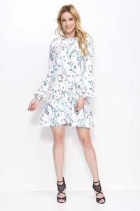 White Floral Pattern Flared Dress