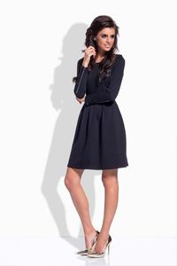 Black Round Neckline Flared Dress with Zipps