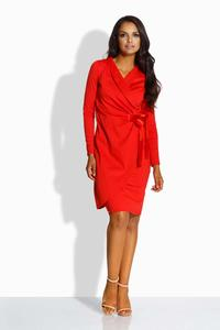 Red Envelope Type Dress With Satin Bow
