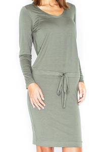 Green Casual Long Sleeves Drawstring Waist Dress