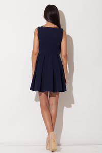 Blue Bateau Neck Pleated Skirt Dress with Back Zip Fastening