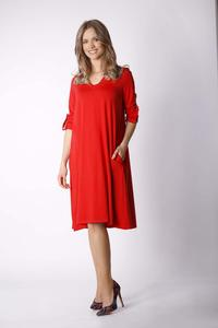 Red Loose Knit V-neck Dress