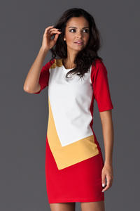 Red Asymmetrical Color Block Shirt Dress