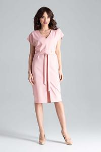 Pink Belted V-Neck Dress