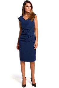 Nevy Blue Fitted Sleeveless Dress with Draping Elements