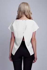 White Short Sleeves Blouse with Unique Back