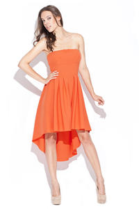 Orange Asymmetrical Pleated Bandeau Dress