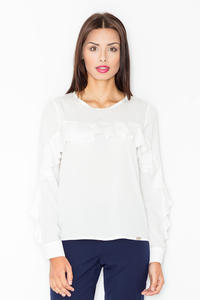 Ecru Long Sleeves Blouse with a Frill