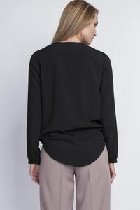 Black Elegant Wrap Front Long Sleeves Blouse