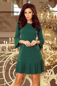 Green Formal Dress with Pleated Frills