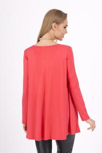 Coral Long Sleeves Oversized Loose Blouse