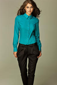 Seam Collared Azure Shirt with Paired-Button Details