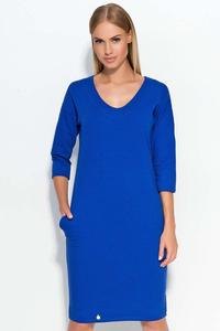 Blue Casual Dress with Pockets