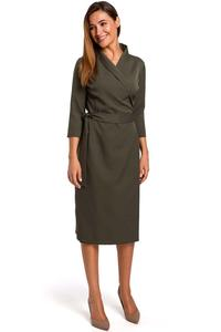 Khaki Fitted Envelope Dress Fied on the Side