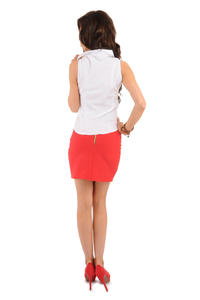 Red Pencil Mini Skirt with Back Zip Fastening