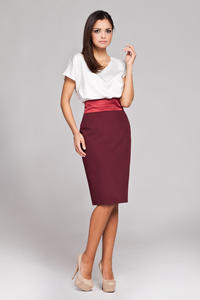 Maroon Knee Length Pencil Skirt with Glossy Belt