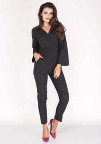 Black Elegant Jumpsuit with Collar