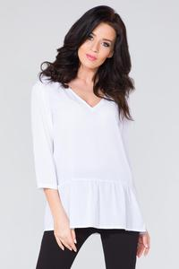 White Romantic V-Neck Blouse with a Frill