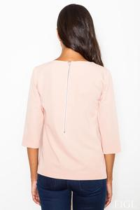 Pink 3/4 Sleeves Blouse with Zippers