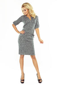 Grey Melange Pencil Dress with Stand-up Collar