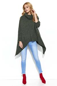 Loose Turtleneck Sweater with Long Sides - Khaki