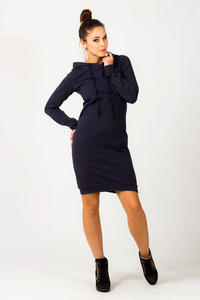 Navy Blue Hooded Dress with Long Sleeves