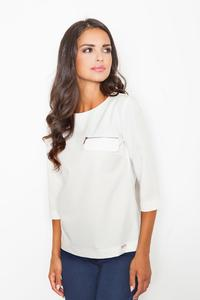 Ecru 3/4 Sleeves Blouse with Zippers