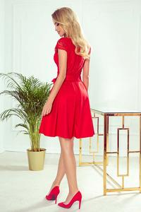 Red Flared Evening Dress with Lace