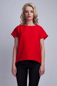 Red Short Sleeves Blouse with Unique Back