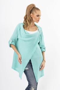 Mint Green Stylish One Button Rolled-up Sleeves Cardigan