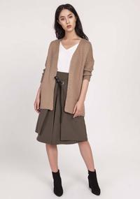 Mocca Lightweight Cardigan with an open cut