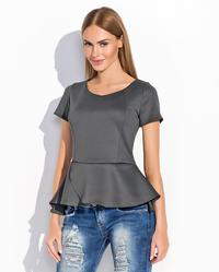 Dark Grey Short Sleeves Peplum Chic Blouse