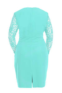Mint Elegant Lace Sleeves Slim Waist Evening Dress PLUS SIZE