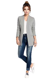Grey Casual No Buttons Blazer
