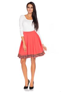 Coral&Black Flared Mini Skirt with Frill