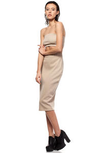 Beige Midi Pencil Skirt with Decorative Back Zipper Fastening