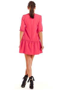 Fuchsia V-neck dress with a frill at the bottom