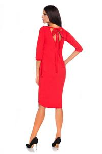 Red Casual Dress with Cut Out Back and Self Tie Bow