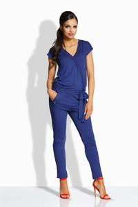 Dark Blue V-Neckline Self-Tie Belt Jumpsuit