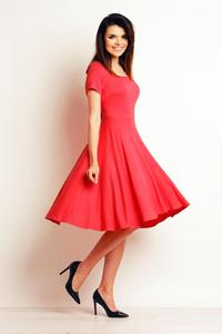 Coral Red Light Pleats Midi Dress