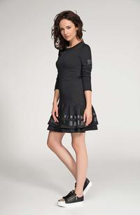 Dark Grey Mini Frilled Hem Dress