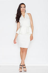Ecru Stylish Coctail Peplum Dress