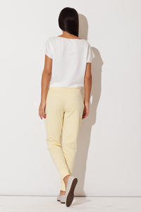 Yellow Casual Pants with Golden Zip