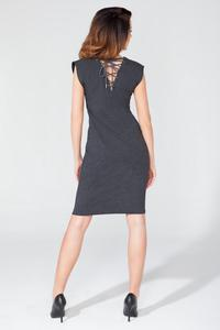 Dark Grey Decorative Drawstring Knee Length Dress