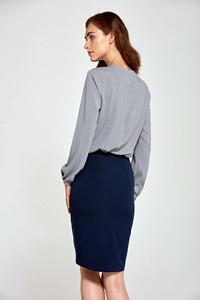 Dark Blue Classic Pencil Skirt