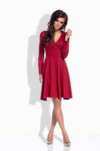 Maroon V-Neckline Flared Dress