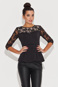 Lace Top Frill Waist Black Top with Elbow Sleeves