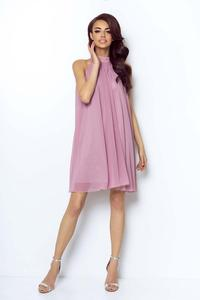 Pink Airy Cocktail Dress with a Halter Neckline on the Stand-up Collar